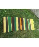 vtg  woven wool rug,  southwestern Mexican floor runner,  woven wall han... - $44.50