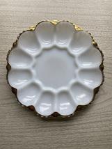 Vintage 50/60s Anchor Hocking Fire King 22kt gold trimmed Egg Platter