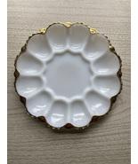 Vintage 50/60s Anchor Hocking Fire King 22kt gold trimmed Egg Platter - $45.00