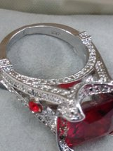 Silver Ring Square Ruby Red Color Stone SZ 6 1/2 image 4