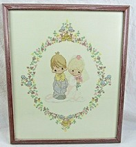 Framed Precious Moments Needlepoint Bride Groom Wedding Handmade 19.5 x ... - $59.39