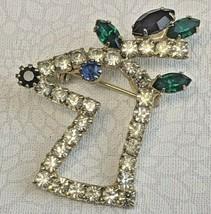 Vintage Estate Rudolph Reindeer Rhinestone Gold Tone Christmas Brooch Pin  - $15.99
