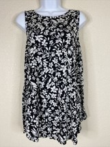 Old Navy Womens Size L Black & White Floral Luxe Tunic Blouse Sleeveless - $11.88
