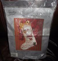 "VINTAGE 1991 COUNTED CROSS STITCH MERRY CHRISTMAS SANTA 12"" X 17"" STOCKI... - $64.52"