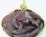 Carved Lepidolite Nesting Dragon Gold Wire Wrap Gemstone Pendant - $225.00