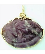 Carved Lepidolite Nesting Dragon Gold Wire Wrap Gemstone Pendant - $250.00