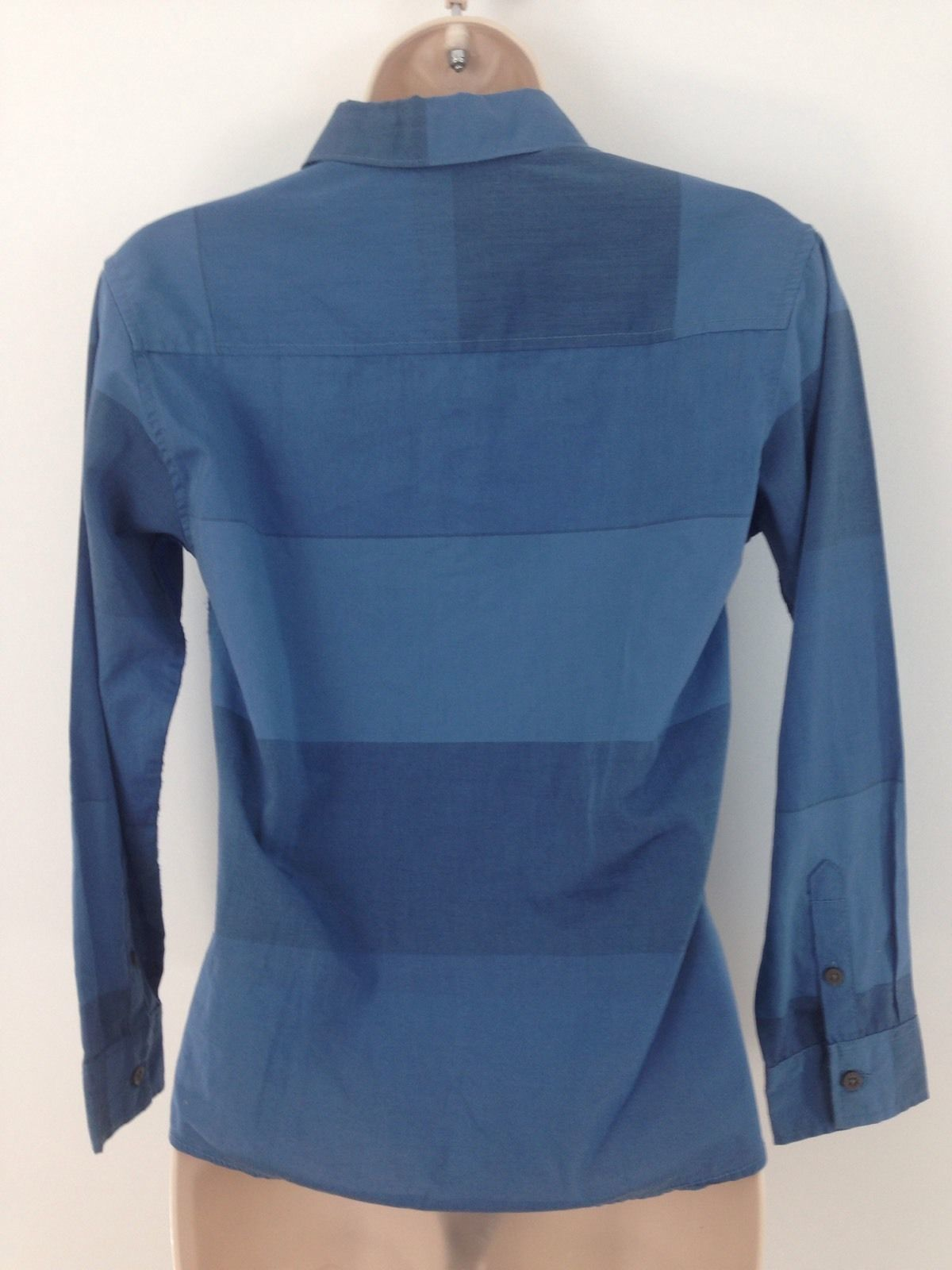 Calvin Klein Jeans Womens M Blue Big Stripe Button Front Top Blouse Shirt