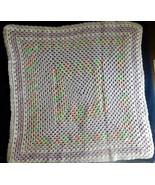 "AFGHAN Blanket BABY Handmade Crochet Pastel Lavender Wht Pnk 31"" x 33"" N... - $34.49"