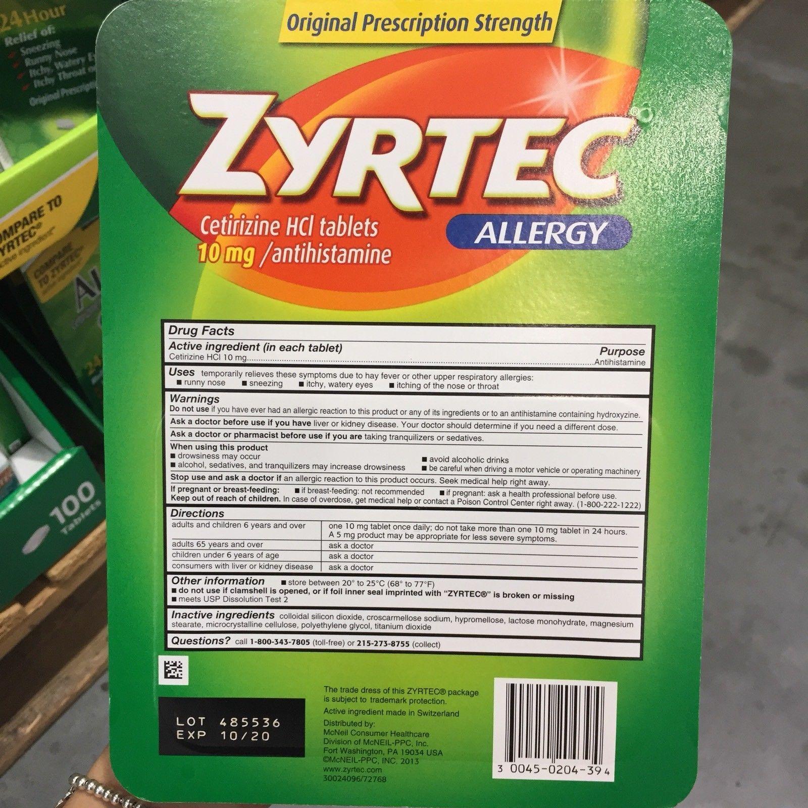 Zyrtec Allergy Cetirizine HCI 10mg, and 11 similar items