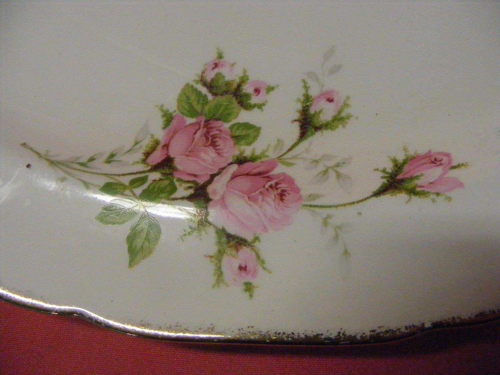 """Canonsburg Moss Rose 13 3/8"""" Oval Serving Platter  22 K  Brushed Gold Trim"""