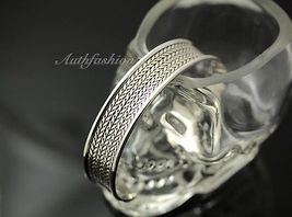 Mens Sterling Silver Bracelet Woven Wheat Bangle Cuff Handcrafted Hip Hop b24 image 5