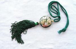Storks Green Cloisonne Tassel Necklace Silk Cord 1970s Enamel Double Sid... - $38.00