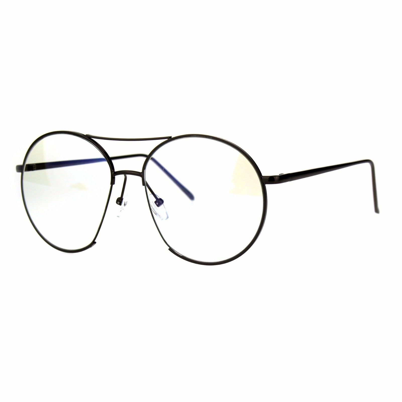 Oversized Clear Lens Glasses Round Open Circle Metal Frame UV 400