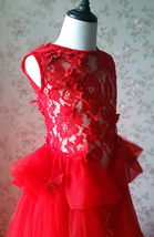 Pageant Red Lace Tutu High Waist Flower Girl Dress 2-Way Girl Birthday Dress NWT image 5