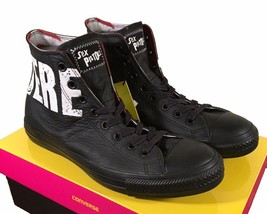 Converse Sex Pistols Chuck Taylor All Star Black Leather Sneaker NOWHERE BOREDOM - $48.00
