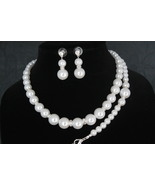 Crystal Wedding Bridal Pearl Necklace and Earrings , Wedding Accessories... - $12.00