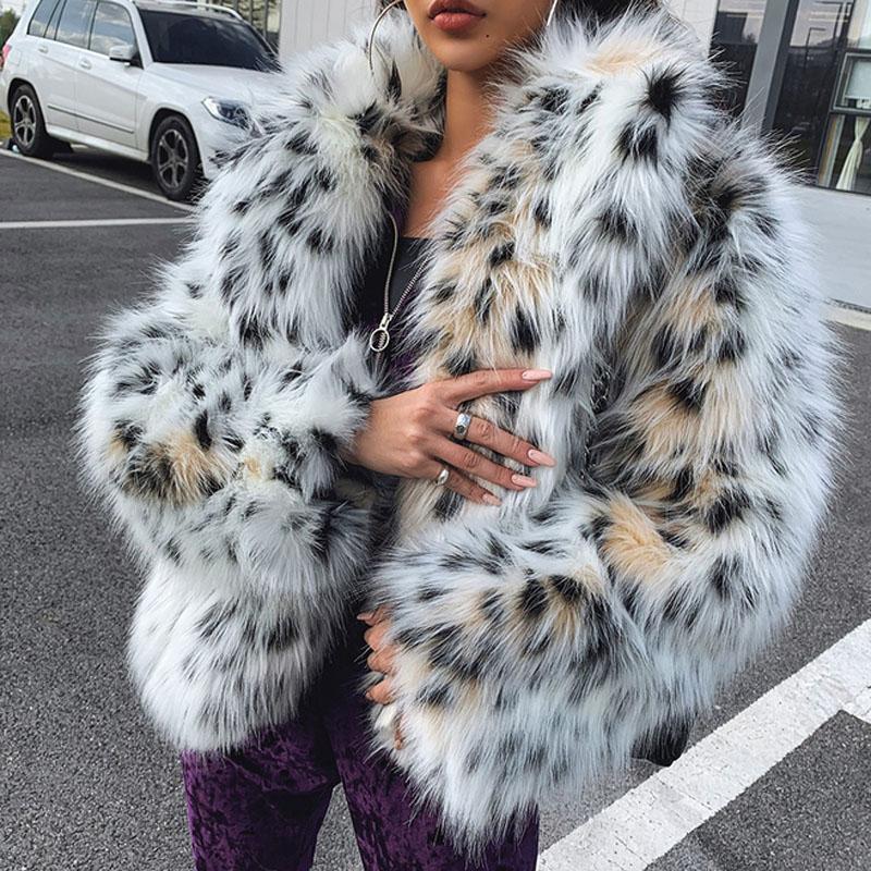 Quality 2020 winter women fashion lynx pattern faux fur coats korean elegant notched collar fake