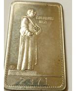 1973 Columbus Mint Thanksgiving Turkey Nickel Metal Art Bar Bullion 2371 - $11.09