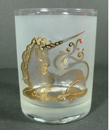 Vintage Culver 22k Gold Unicorn Frosted Lowball Glass Whiskey Scotch - $16.50
