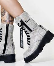 Club Exx Billionaire Bling Boots Size 10 FULL RHINESTONE LACE UP COMBAT BADA$$