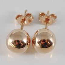 18K ROSE GOLD EARRINGS WITH BIG 8 MM BALLS BALL ROUND SPHERE, MADE IN ITALY image 1