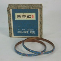 Chinese Cloisonne Enamel Bangle Bracelet Set 2 Floral In Box Antique? Vi... - $123.70