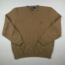 EUC Polo Ralph Lauren Sweater pullover beige 100% cotton men sz L - $22.00
