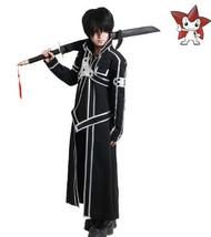 HOT Anime Sword Art Online Kirito Kazuto Kirigaya Cosplay Black  Costume - $49.99