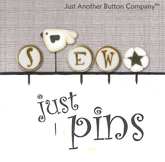 S Is For Sew Just Pins JP153 set 5 for pincushions JABC Just Another Button
