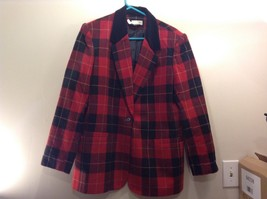 White Stag Women's Black Red Checkered/Plaid Blazer