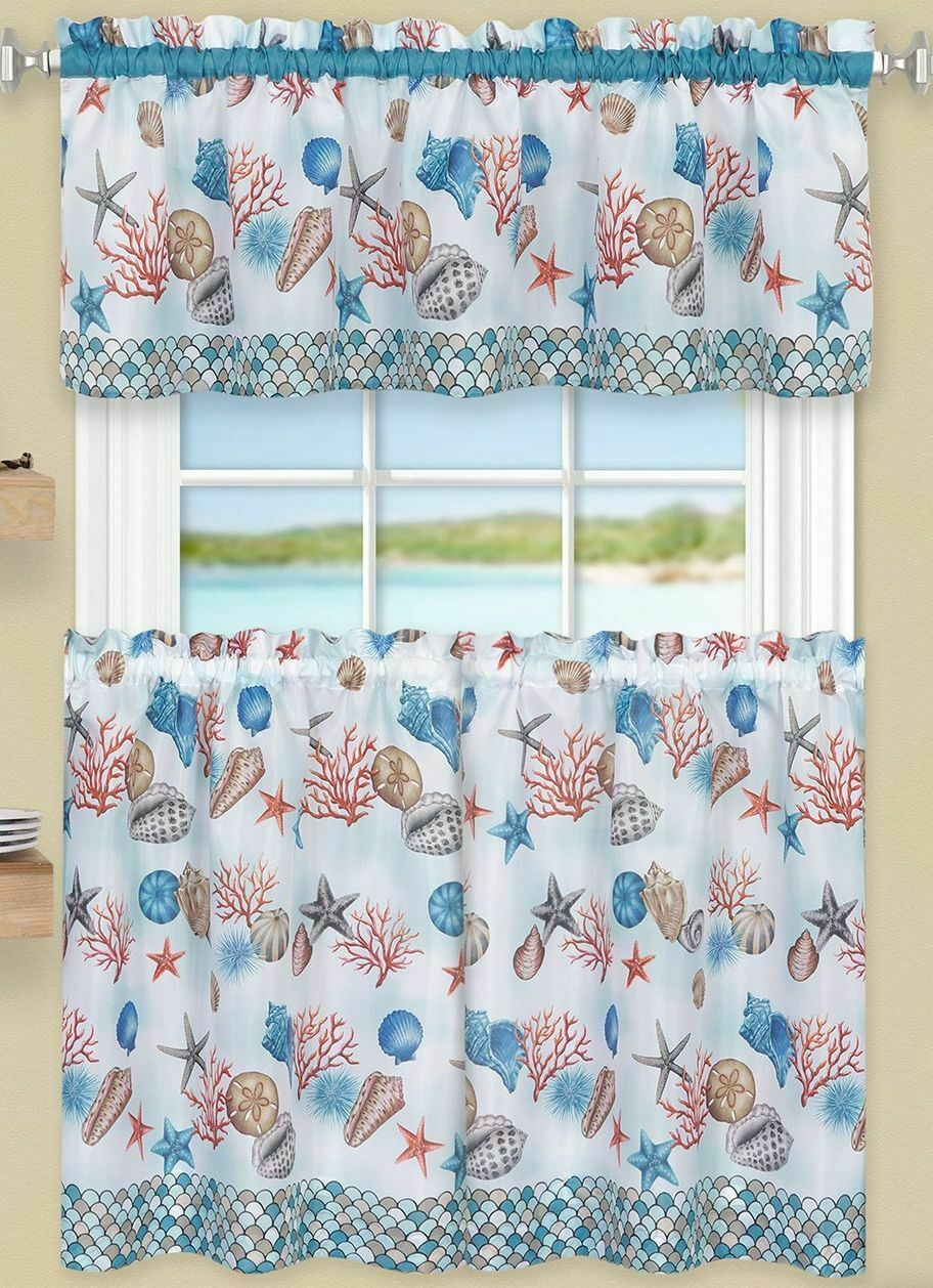 "3 Pc Kitchen Curtains Set,Tiers (58""x36"")& Swag (58""x14"") COASTAL SEALIFE, Achim - $23.75"