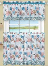 "3 Pc Kitchen Curtains Set,Tiers (58""x36"")& Swag (58""x14"") COASTAL SEALIF... - $23.75"