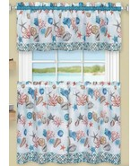 "3 Pc Kitchen Curtains Set,Tiers (58""x36"")& Swag (58""x14"") COASTAL SEALIF... - $23.75"