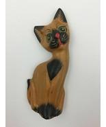 Hand Carved Wood Siamese Cat Figure Painted Vintage Mid Century Modern K... - $20.09