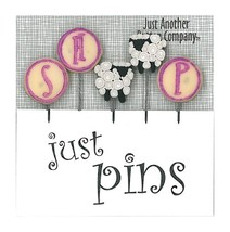 S Is For Sheep Just Pins JP152 set 5 for pincushions JABC Just Another Button - $13.05