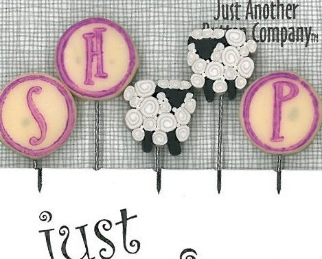 S Is For Sheep Just Pins JP152 set 5 for pincushions JABC Just Another Button