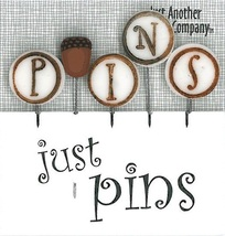 P is for Pins - Acorn JP154 set 5 for pincushions JABC Just Another Button - $13.05