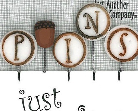 P is for Pins - Acorn JP154 set 5 for pincushions JABC Just Another Button