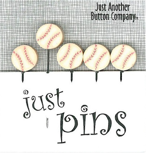 Just Baseballs JP156 Just Pins set 5 for pincushions JABC Just Another Button