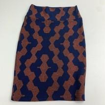 NWOT Lularoe Knit A-Line Pull On Skirt Women's S Blue Brown Straight Kne... - $17.99