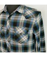 American Eagle Mens Med Slim Fit Plaid Pearl Snap Blue Gray Geen Western... - $21.99
