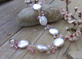 White Coin Pearl & Shades of Pink Swarovski Charm Bracelet - $92.00