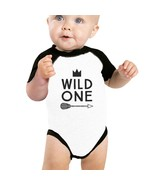 Wild One Feather Baby Black And White BaseBall Shirt - $15.99