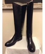 NEW Enzo Angiolini Skat Black Leather Tall Riding Boots Straps Buckles Z... - $59.95