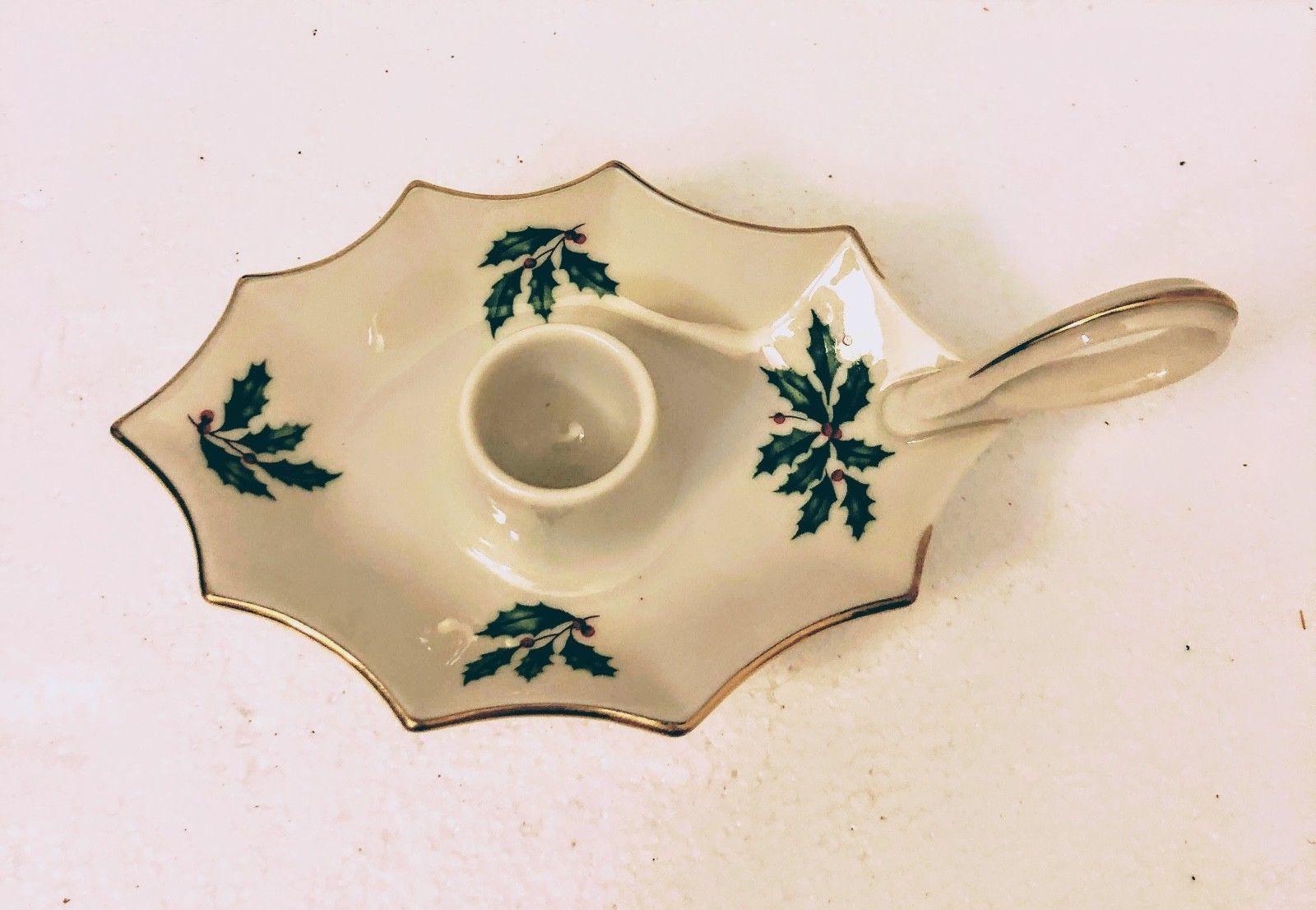 Lenox Porcelain Holiday Collection Candle Holder Christmas Decoration US Xmas