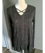 Apt 9 Ladies Tunic Sweater, sz L. Black and tan, neck details - $12.19
