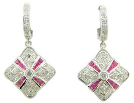 14k Gold Genuine Natural Diamond and Ruby Deco Style Earrings (#J4083) - $1,095.00