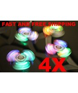 4x NEW Crystal Led Light Fidget Spinner Rainbow Hand Toy Stress Finger Spinners - $14.01