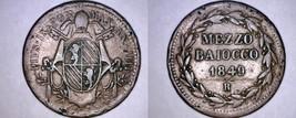 1849-IIIIR Italian States Papal States 1/2 Baiocco World Coin - Pius IX - $25.99