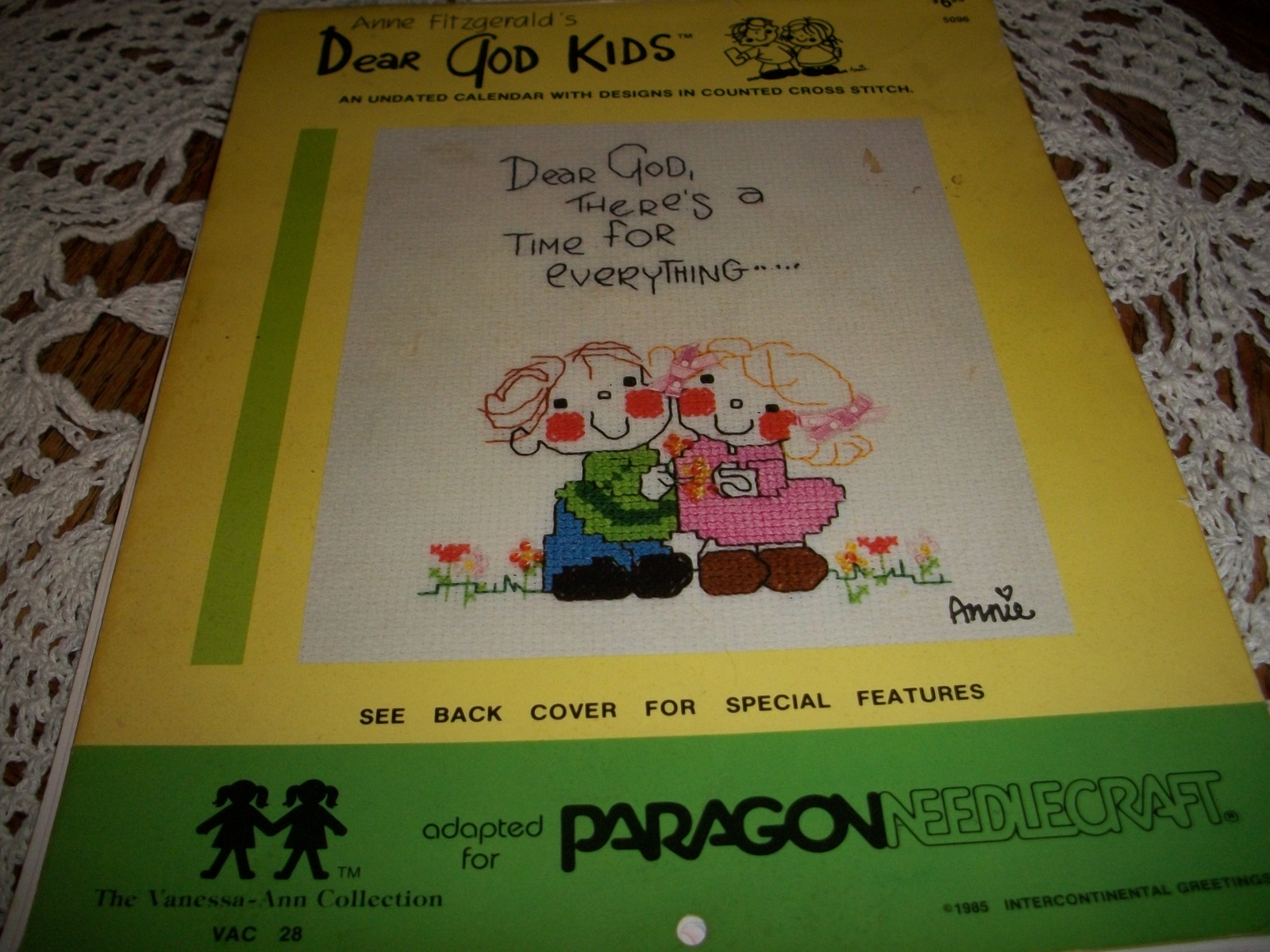Primary image for Dear God Kids Undated Calendar With Designs In Counted Cross Stitch